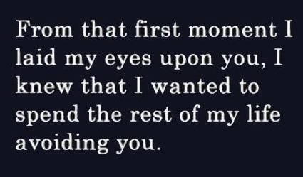 Funny sign - from the first moment I laid eyes upon you, I knew I wanted to spend the rest of my life avoiding you.