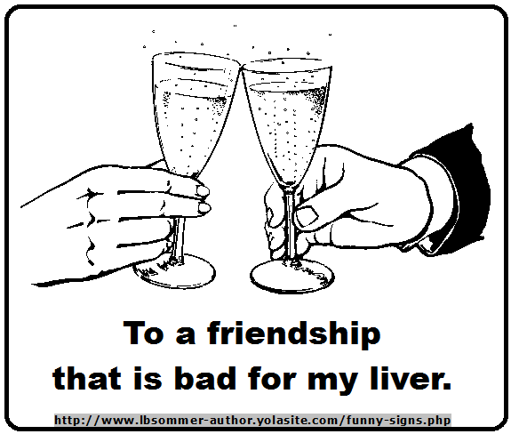 A funny toast - To a friendship that is bad for my liver,