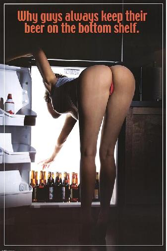 Beer poster - why guys always keep their beer on the bottom shelf