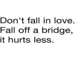 Funny love quote. Don't fall in love. Fall off a bridge, it hurts less.