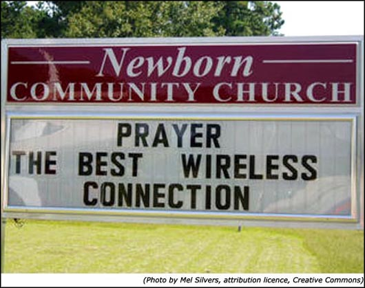 Funny church sign - Prayer is the best wireless connection