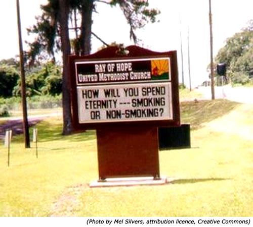 Funny church sign that asks the question,