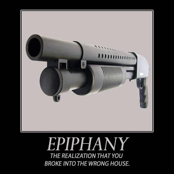 Funny gun sign: Epiphany - The realization that you broke into the wrong house. http://www.lbsommer-author.yolasite.com/gun-signs.php