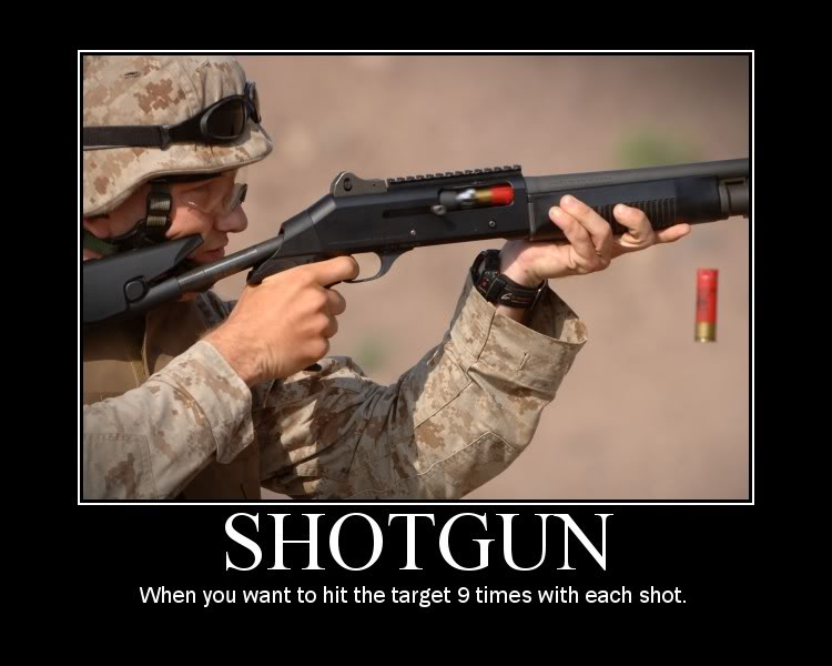 sign about guns. Shotgun - when you want to hit your targets nine times with each shot. http://www.lbsommer-author.yolasite.com/gun-signs.php