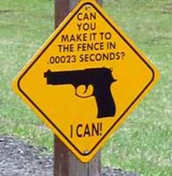 Funny sign depicting a gun: Can you make it to the fence in .00023 seconds? I can. http://www.lbsommer-author.yolasite.com/gun-signs.php