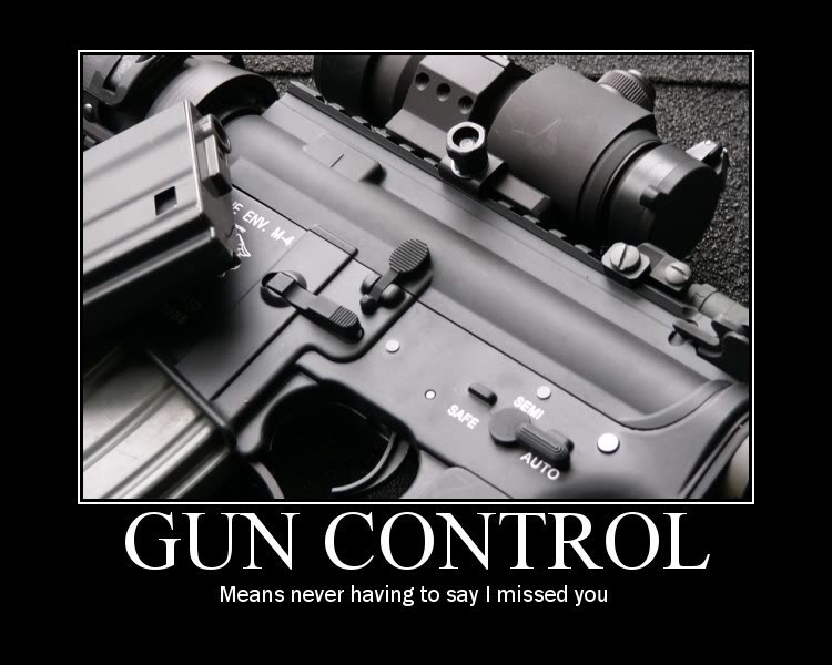 Funny sign: Gun Control means never having to say I missed you. http://www.lbsommer-author.yolasite.com/gun-signs.php