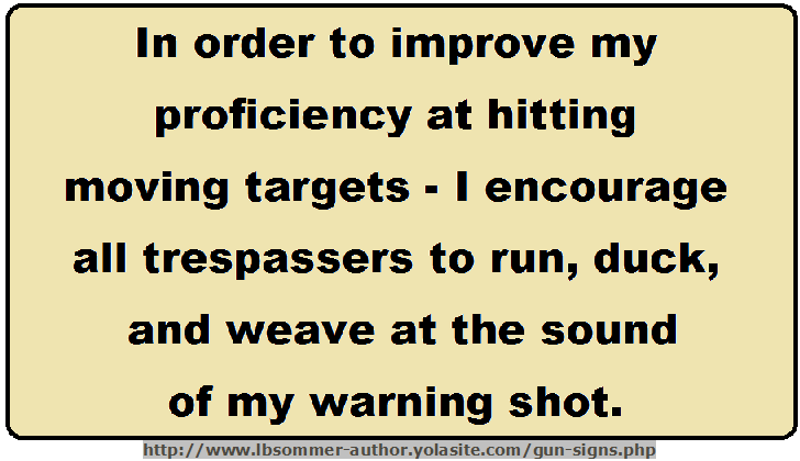 In order to improve my efficiency at hitting moving targets, I encourage all trespassers to run, duck, and weave at the sound of my warning shot. http://www.lbsommer-author.yolasite.com/gun-signs.php