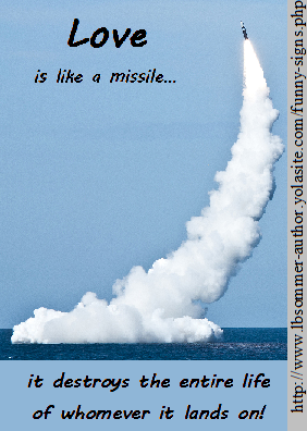 Love is like a missile, it destroys the entire life of whomever it lands on.