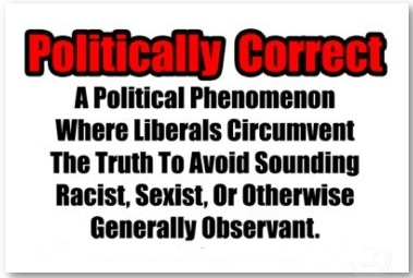 Funny sign - Politically Correct A political phenomenon where liberals circumvent the truth to avoid sounding racist, sexist, or otherwise generally observant.