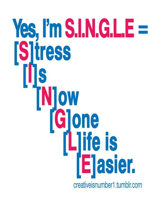 funny sign - Single equals Stress is now gone life is easier.