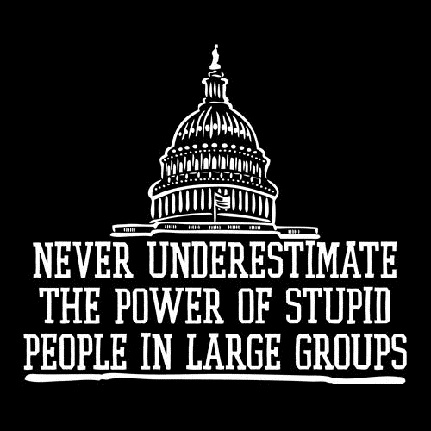 Humorous sign about congress - never underestimate the power of stupid people in large groups.