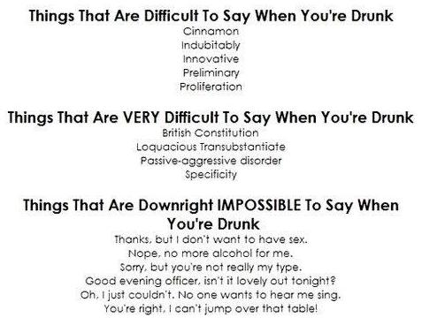 things that are difficult, very difficult, and impossible to say when you are drunk