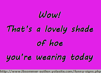 Humorous sign for women - Wow! That's a love shade of hoe you're wearing today.